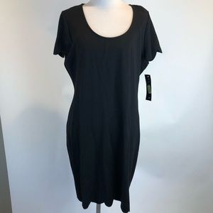 Tiana B Black Short Sl Shift Dress Scalloped Hem